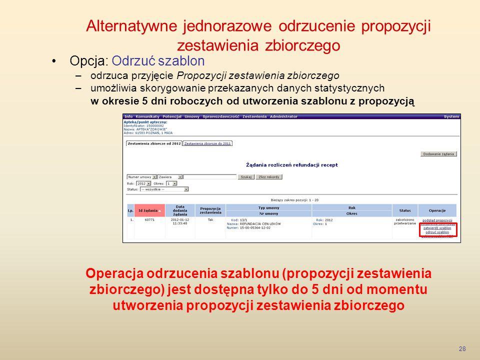 Alternatywne jednorazowe odrzucenie propozycji zestawienia zbiorczego