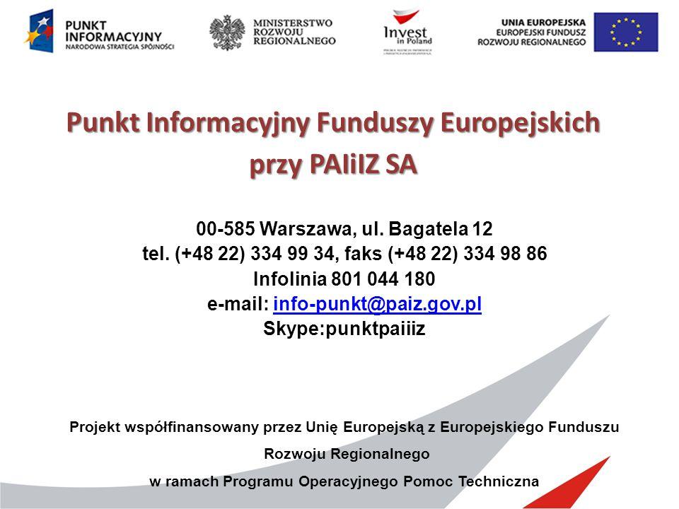 Punkt Informacyjny Funduszy Europejskich przy PAIiIZ SA