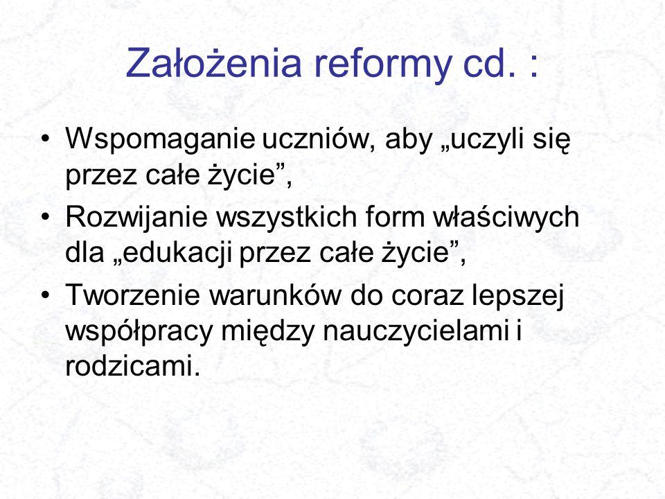 """Założenia reformy cd. : Wspomaganie uczniów, aby """"uczyli się przez całe życie ,"""