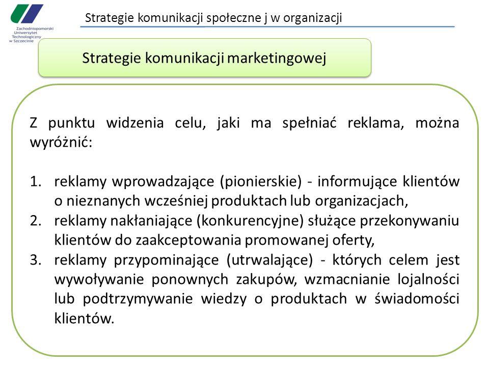 Strategie komunikacji społeczne j w organizacji