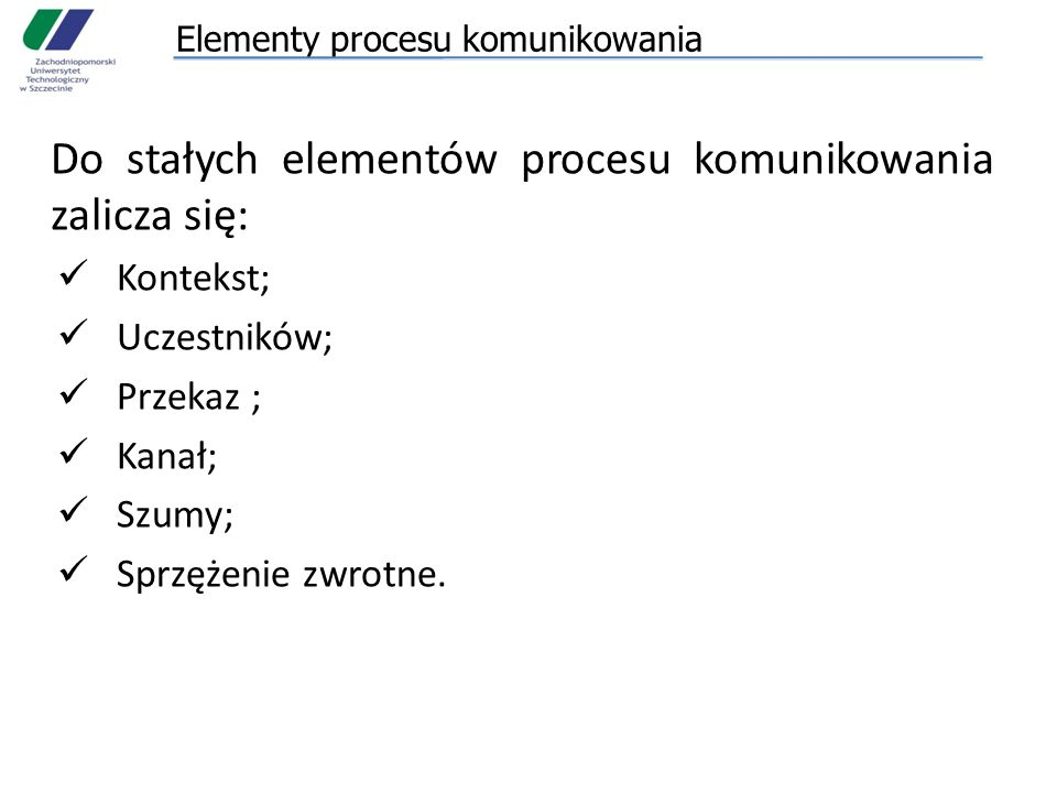 Elementy procesu komunikowania