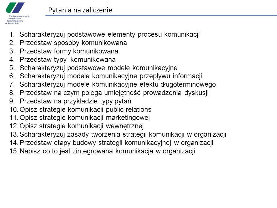Pytania na zaliczenie Scharakteryzuj podstawowe elementy procesu komunikacji. Przedstaw sposoby komunikowana.