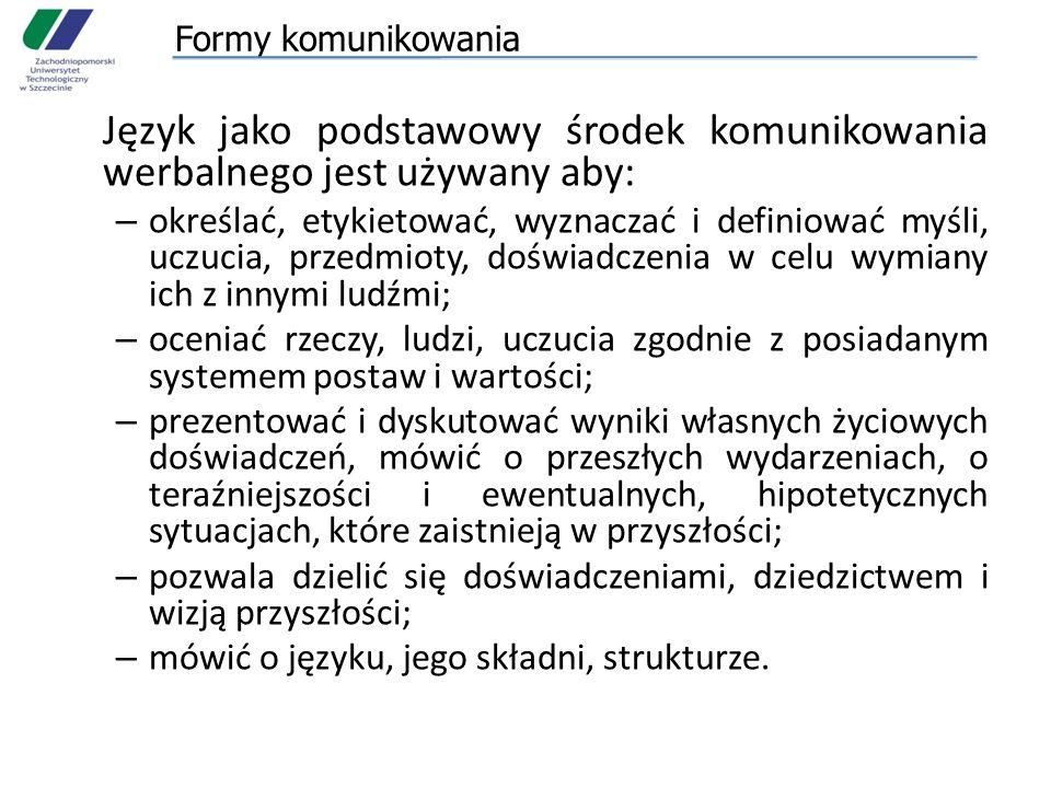 Formy komunikowania Język jako podstawowy środek komunikowania werbalnego jest używany aby: