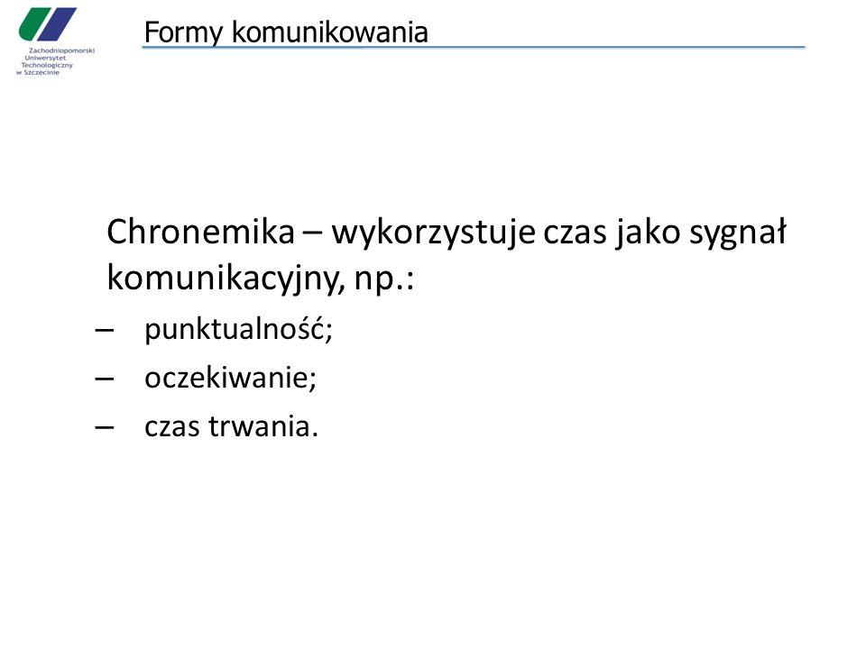 Chronemika – wykorzystuje czas jako sygnał komunikacyjny, np.: