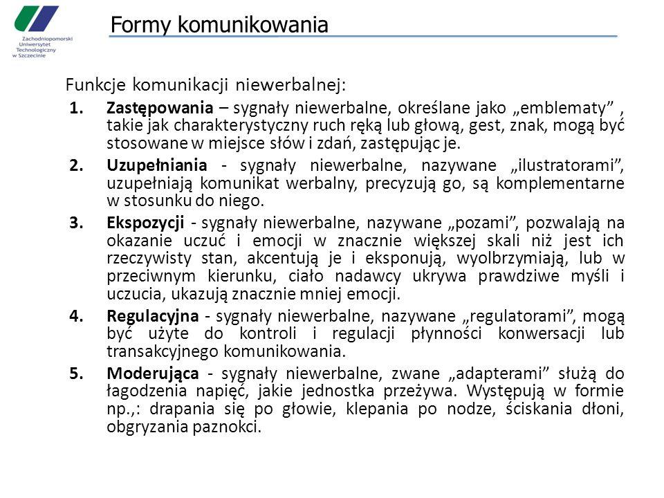 Formy komunikowania Funkcje komunikacji niewerbalnej: