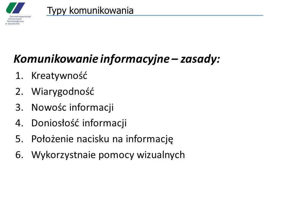 Komunikowanie informacyjne – zasady:
