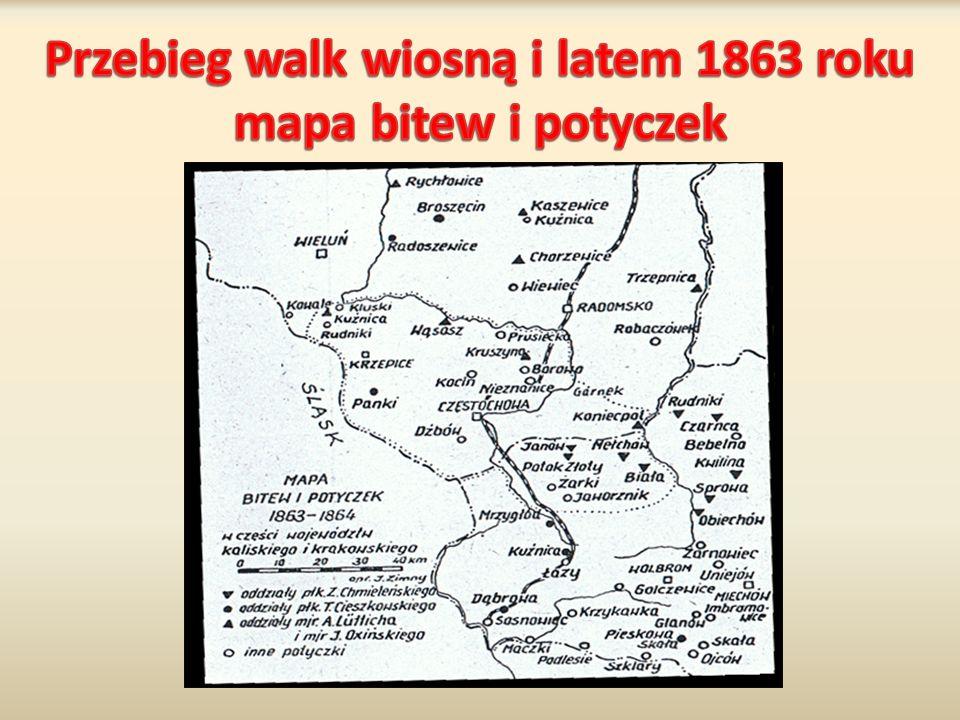 Przebieg walk wiosną i latem 1863 roku mapa bitew i potyczek
