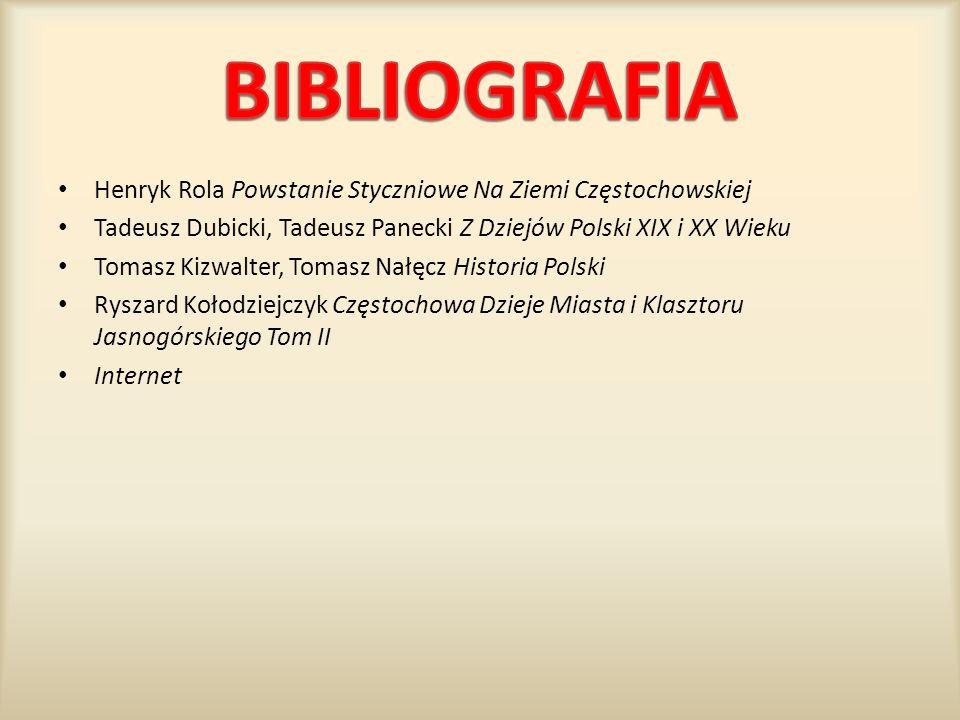 BIBLIOGRAFIA Henryk Rola Powstanie Styczniowe Na Ziemi Częstochowskiej