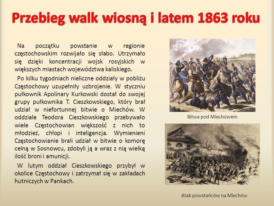 Przebieg walk wiosną i latem 1863 roku