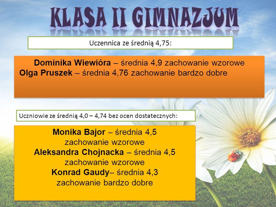KLASA II GIMNAZJUM Dominika Wiewióra – średnia 4,9 zachowanie wzorowe