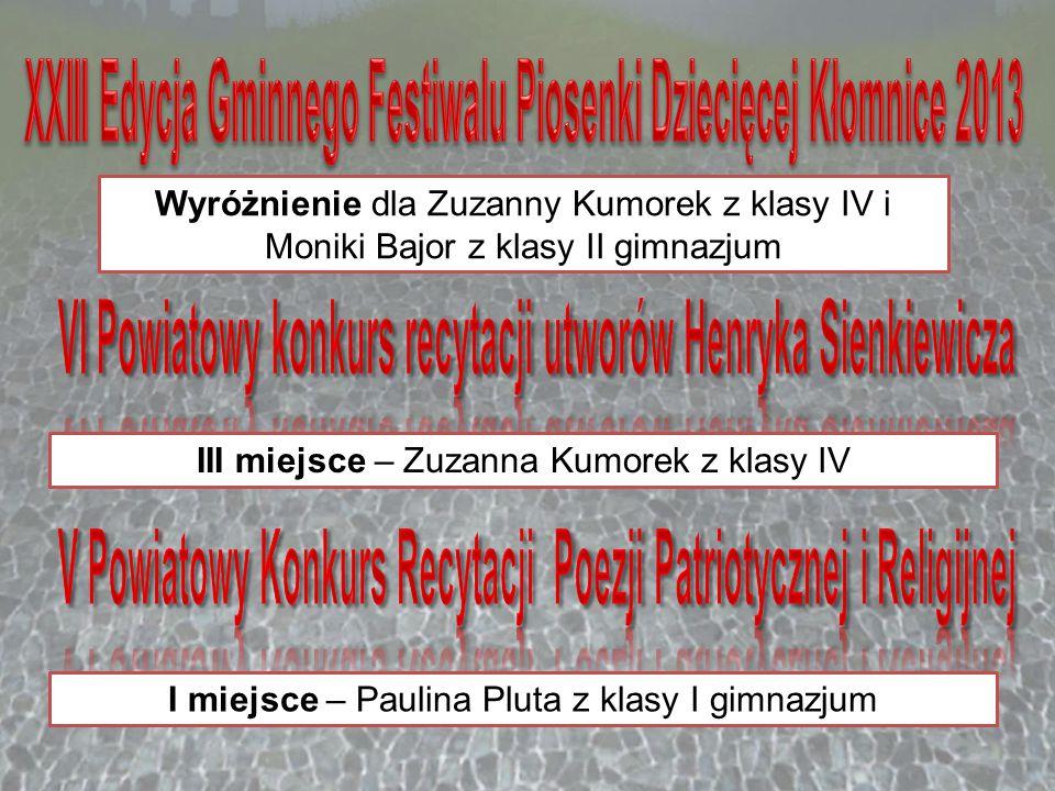 XXIII Edycja Gminnego Festiwalu Piosenki Dziecięcej Kłomnice 2013