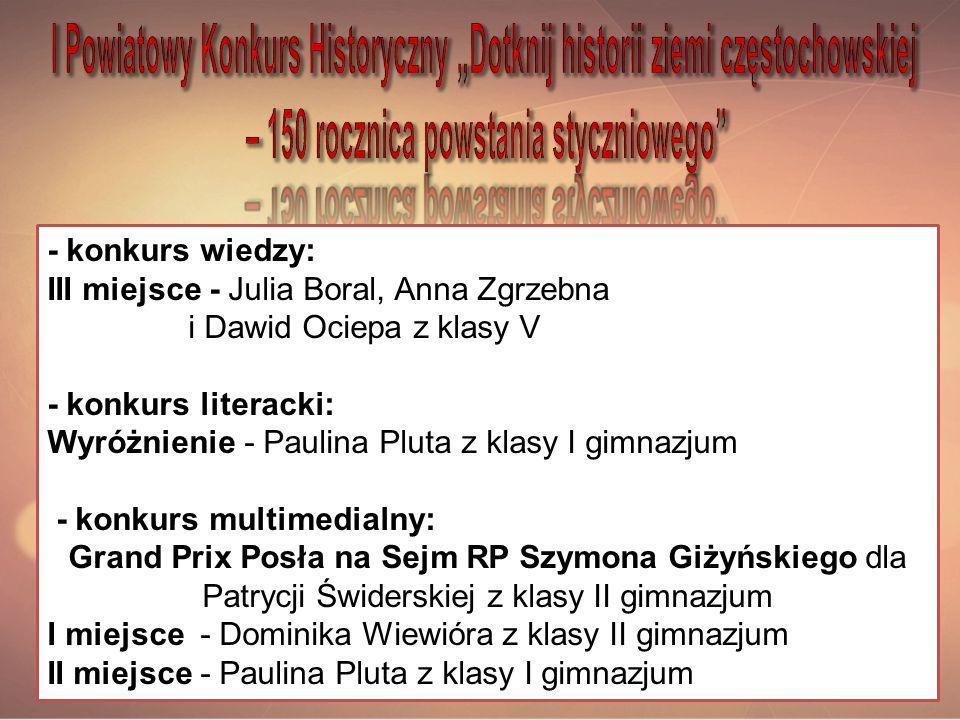 """I Powiatowy Konkurs Historyczny """"Dotknij historii ziemi częstochowskiej – 150 rocznica powstania styczniowego"""