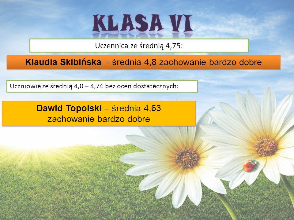 KLASA VI Klaudia Skibińska – średnia 4,8 zachowanie bardzo dobre