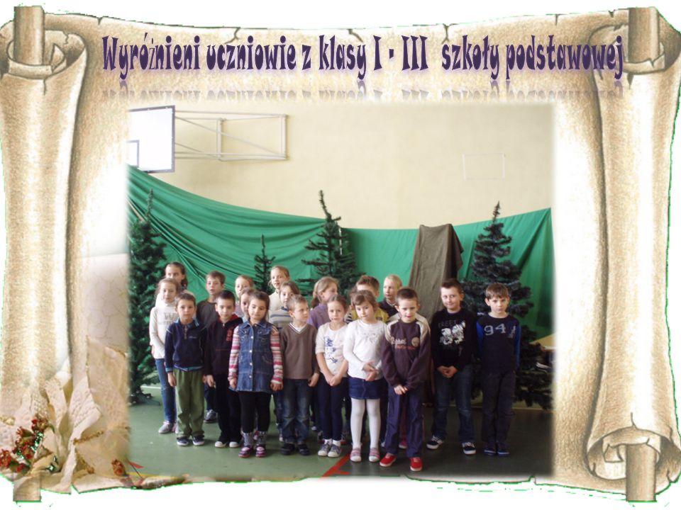 Wyróżnieni uczniowie z klasy I – III szkoły podstawowej