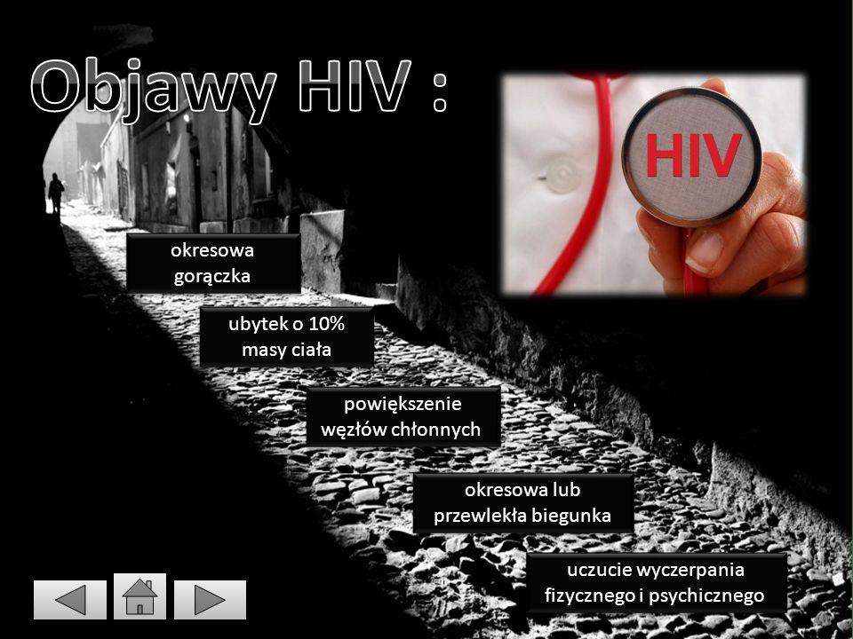 Objawy HIV : okresowa gorączka ubytek o 10% masy ciała