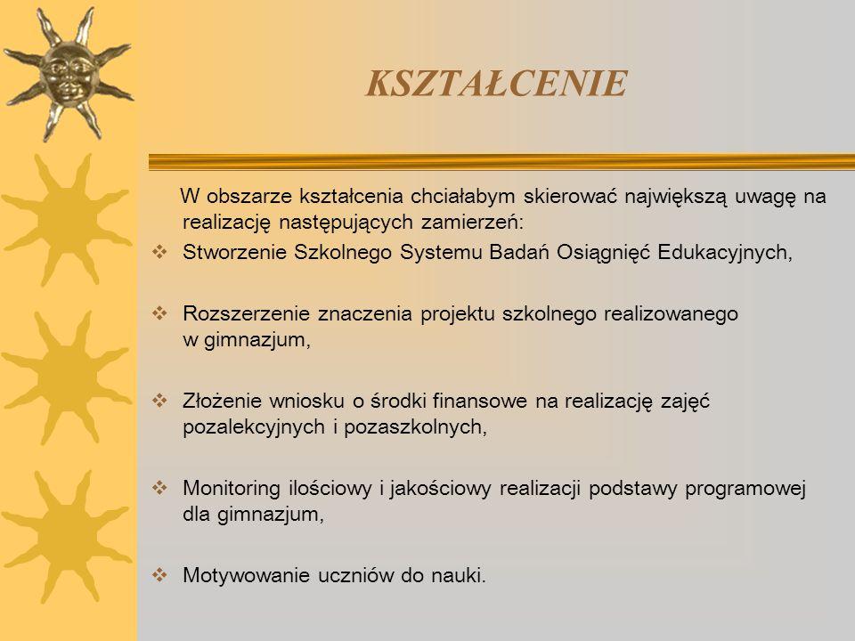 KSZTAŁCENIE W obszarze kształcenia chciałabym skierować największą uwagę na realizację następujących zamierzeń: