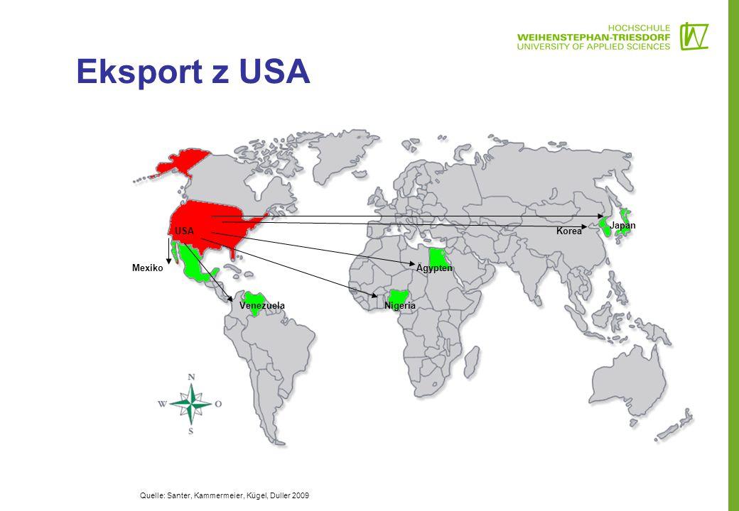 Eksport z USA Japan USA Korea Mexiko Ägypten Venezuela Nigeria