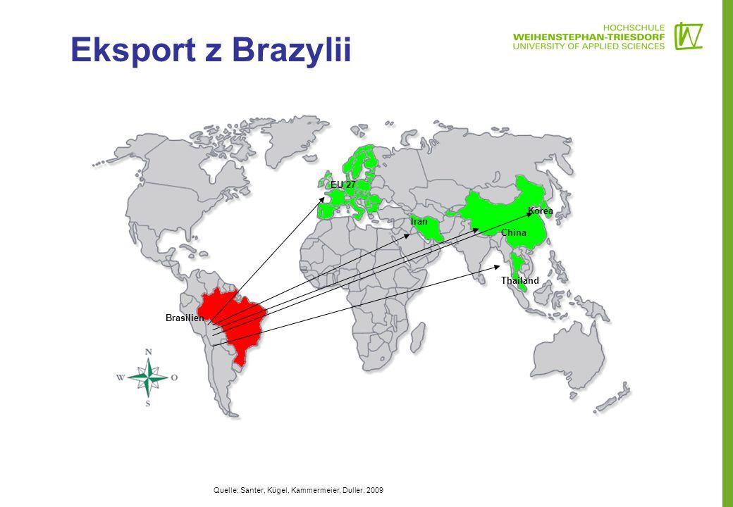 Eksport z Brazylii EU 27 Korea Iran China Thailand Brasilien
