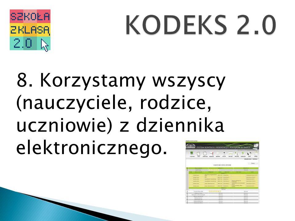 KODEKS 2.0 8. Korzystamy wszyscy (nauczyciele, rodzice, uczniowie) z dziennika elektronicznego.