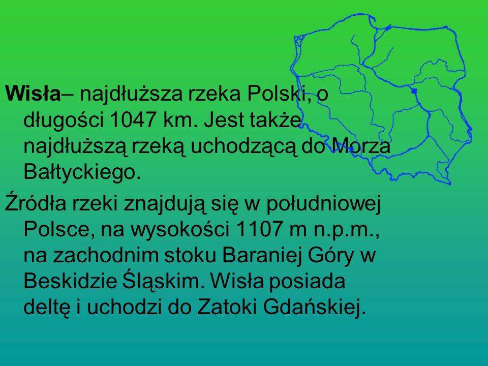 Wisła– najdłuższa rzeka Polski, o długości 1047 km