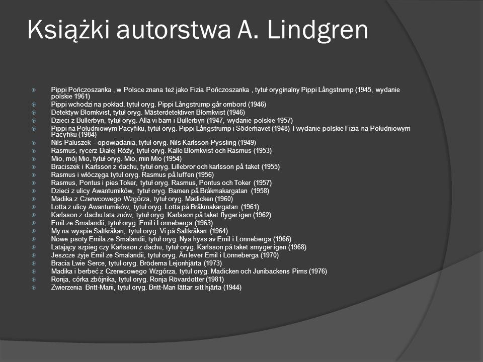 Książki autorstwa A. Lindgren
