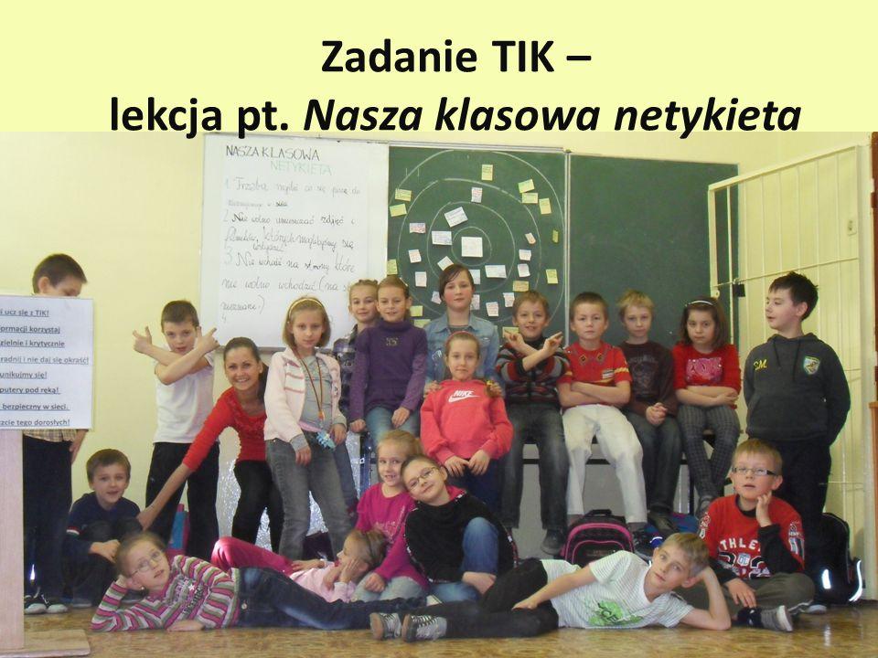 Zadanie TIK – lekcja pt. Nasza klasowa netykieta