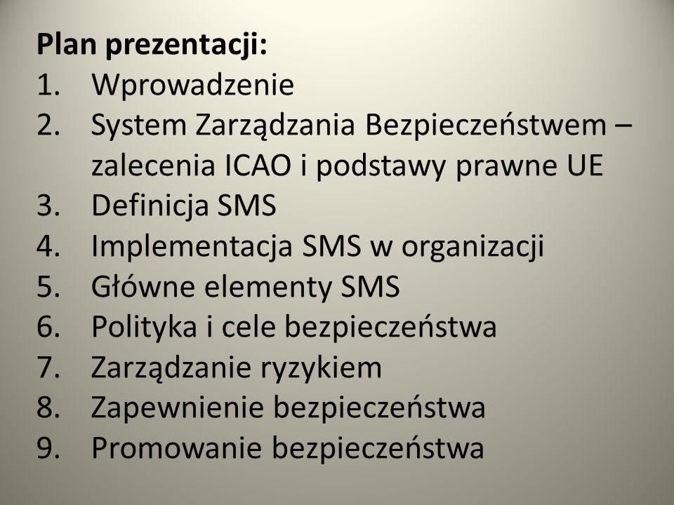 Plan prezentacji: Wprowadzenie. System Zarządzania Bezpieczeństwem – zalecenia ICAO i podstawy prawne UE.
