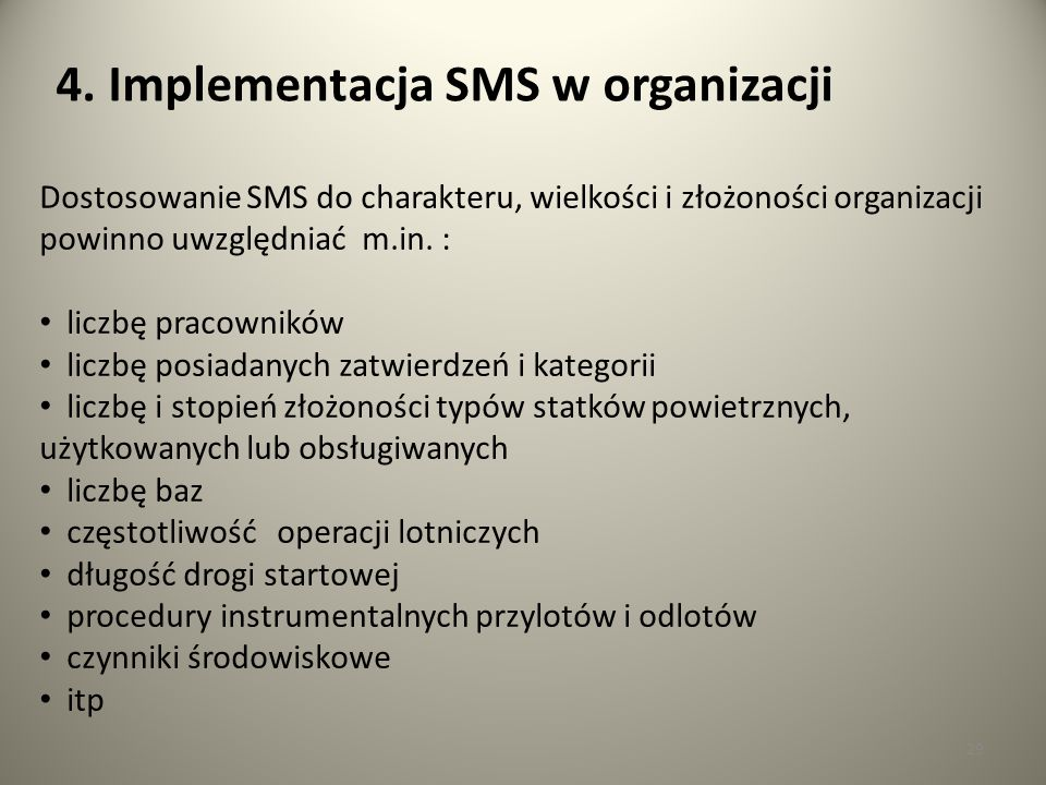 4. Implementacja SMS w organizacji