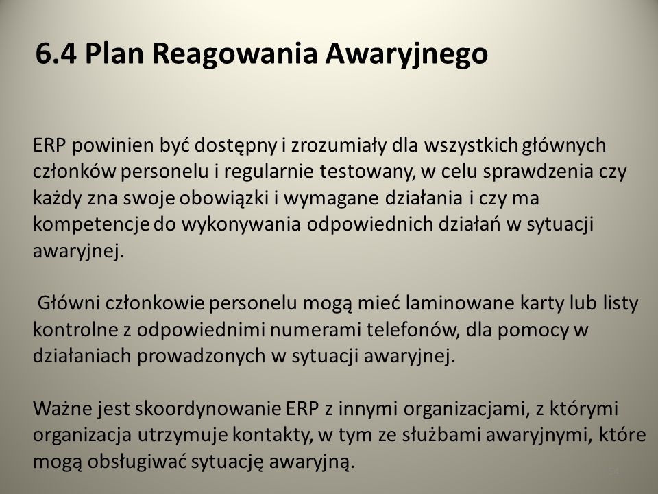 6.4 Plan Reagowania Awaryjnego