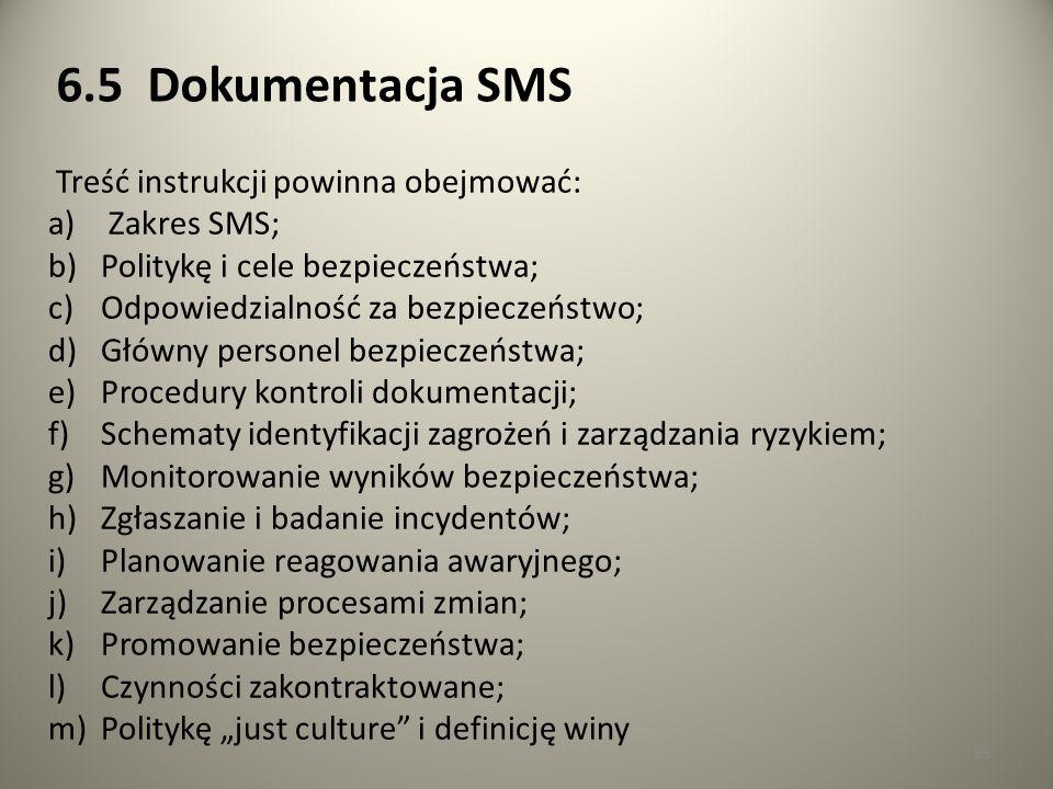 6.5 Dokumentacja SMS Treść instrukcji powinna obejmować: Zakres SMS;