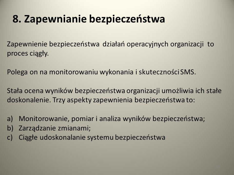 8. Zapewnianie bezpieczeństwa