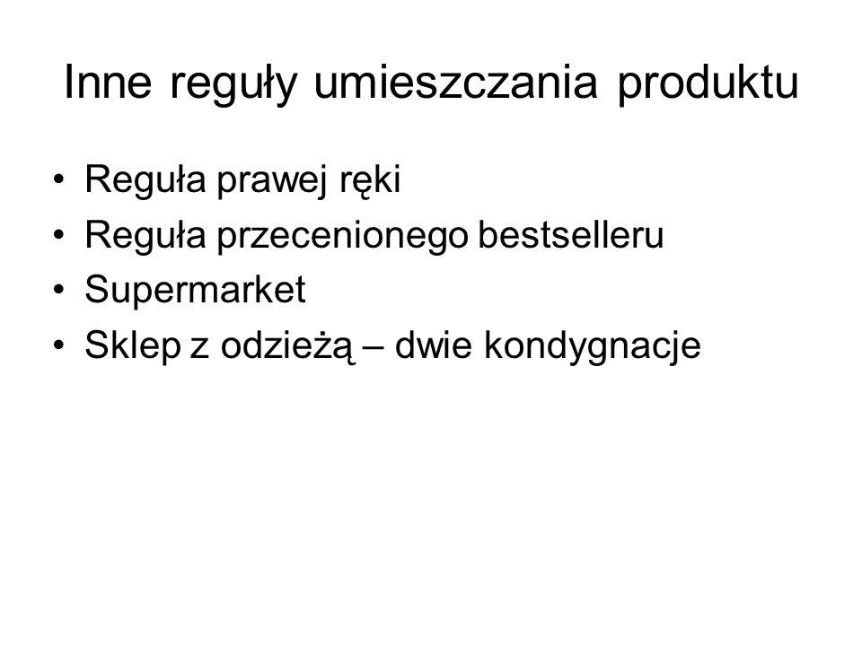 Inne reguły umieszczania produktu