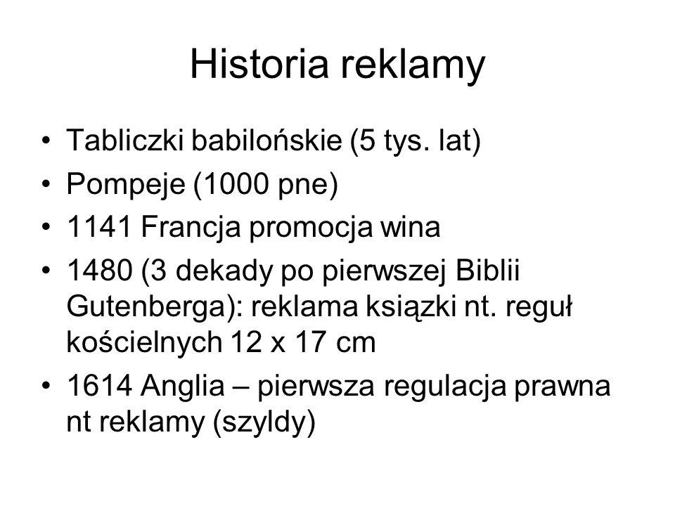 Historia reklamy Tabliczki babilońskie (5 tys. lat) Pompeje (1000 pne)