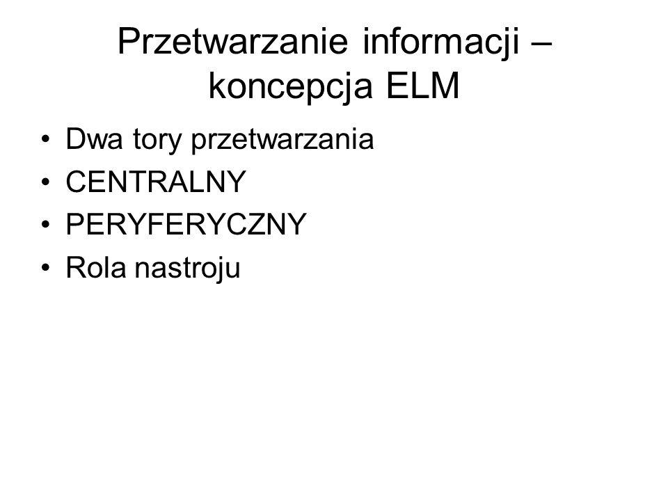 Przetwarzanie informacji – koncepcja ELM