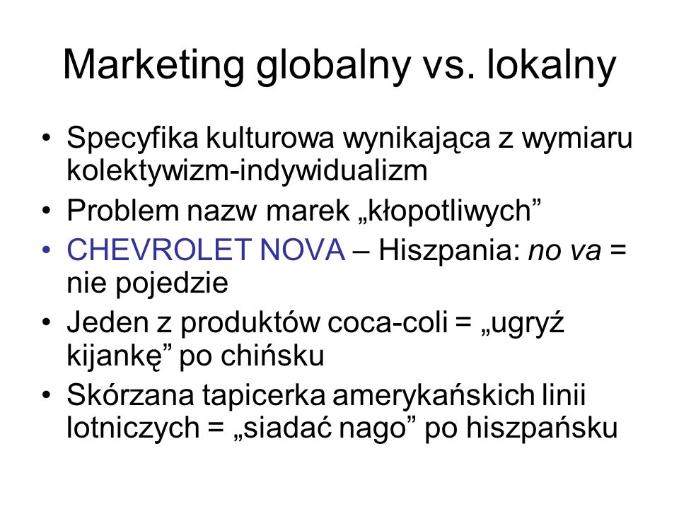Marketing globalny vs. lokalny