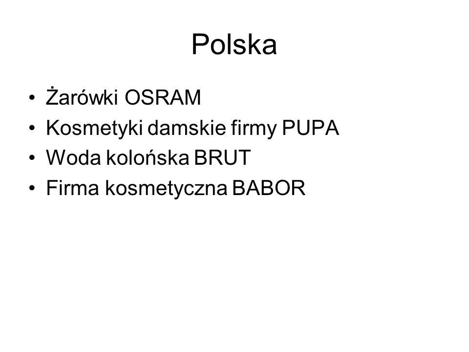 Polska Żarówki OSRAM Kosmetyki damskie firmy PUPA Woda kolońska BRUT