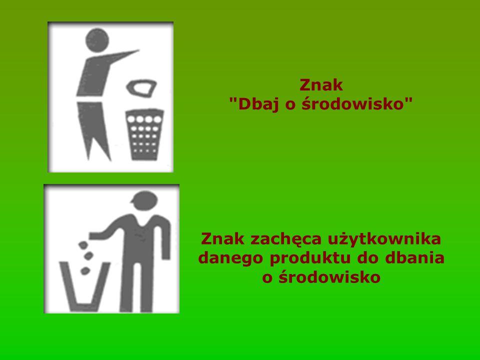 Znak zachęca użytkownika danego produktu do dbania o środowisko