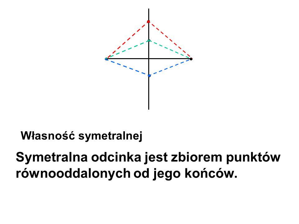 Własność symetralnej Symetralna odcinka jest zbiorem punktów równooddalonych od jego końców.