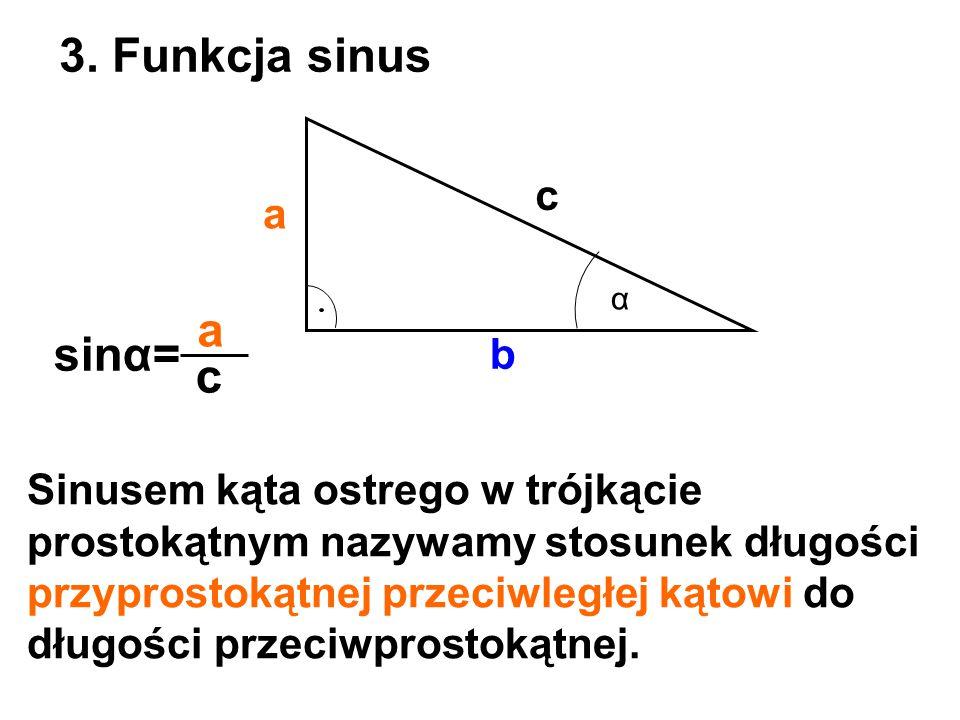 3. Funkcja sinus a sinα= c c a b