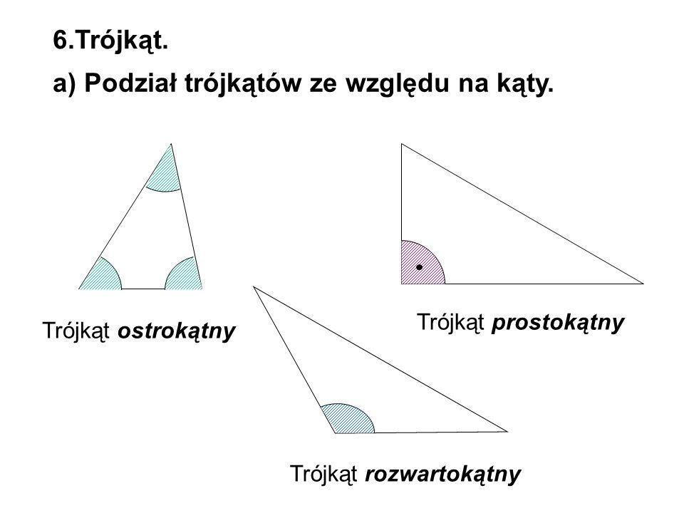 a) Podział trójkątów ze względu na kąty.
