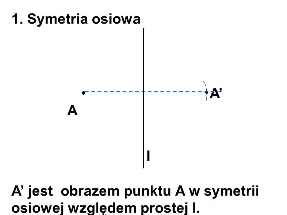 1. Symetria osiowa A' A l A' jest obrazem punktu A w symetrii osiowej względem prostej l.