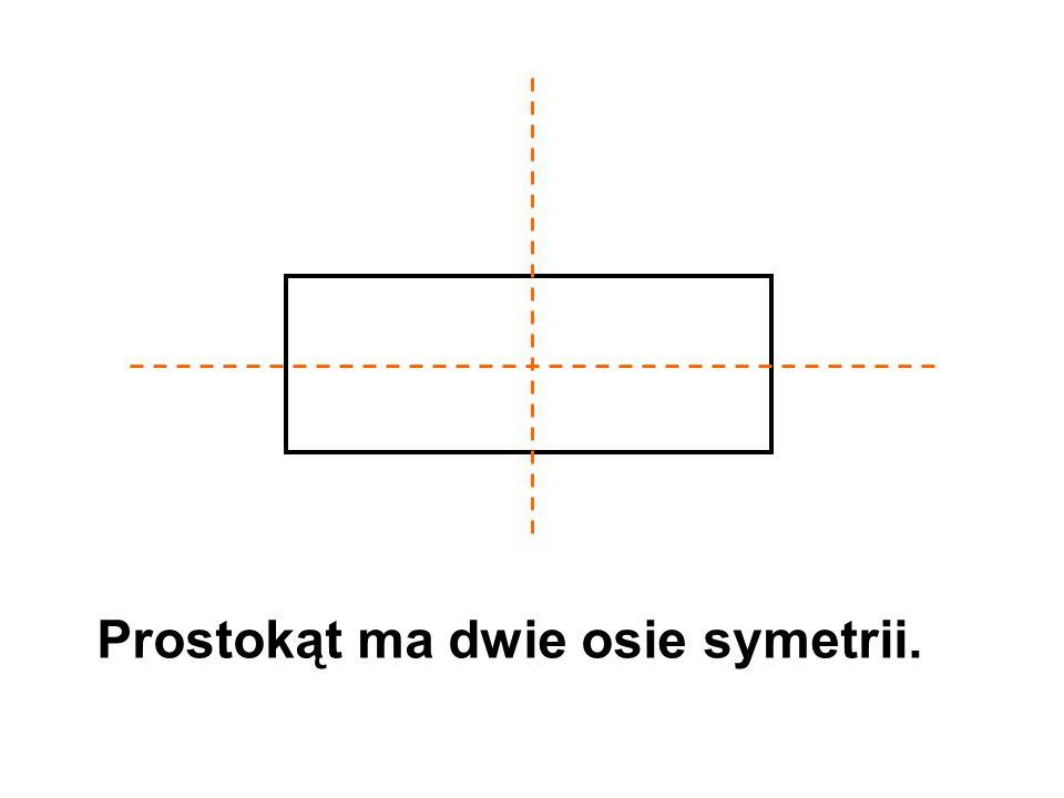 Prostokąt ma dwie osie symetrii.