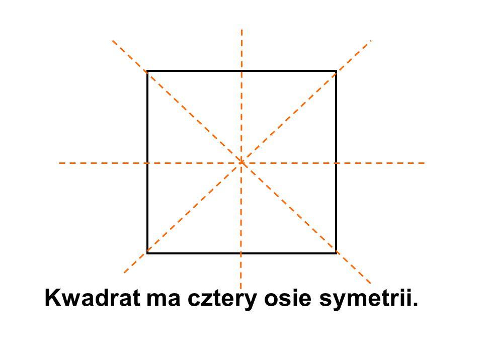 Kwadrat ma cztery osie symetrii.