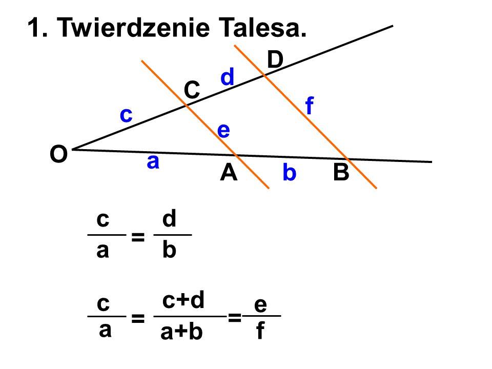 1. Twierdzenie Talesa. D d C f c e O a A b B c d = a b c c+d e = = a
