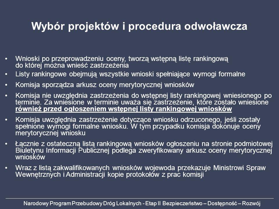 Wybór projektów i procedura odwoławcza
