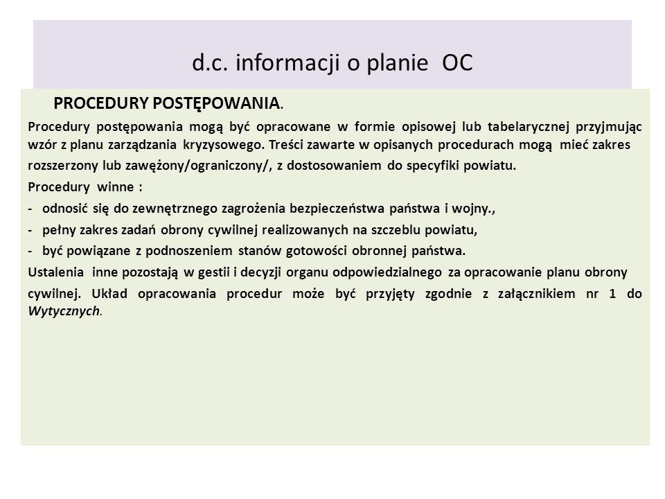 d.c. informacji o planie OC
