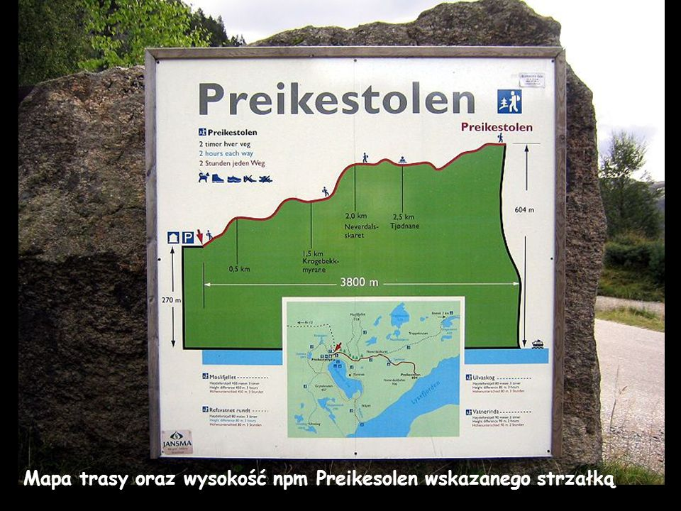 Mapa trasy oraz wysokość npm Preikesolen wskazanego strzałką