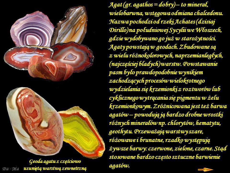 Geoda agatu z częściowo usuniętą warstwą zewnetrzną