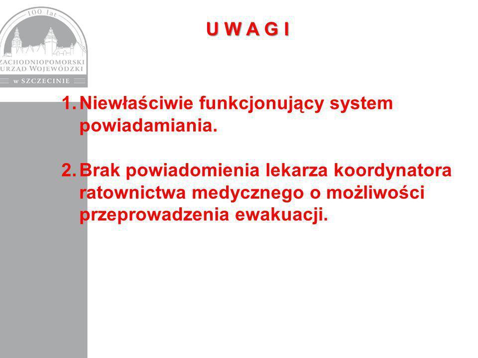 U W A G I Niewłaściwie funkcjonujący system powiadamiania.