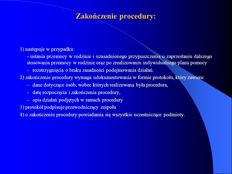 Zakończenie procedury: